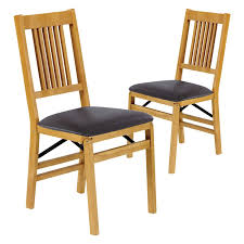 folding chairs wooden upholstered back set of 2