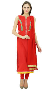 Biba Designer Suits Online Atasi Womens Custom Stitched Red Cotton Straight Salwar Kameez With Dupatta