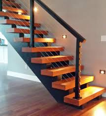 Image Dark Wood Black Aluminum Stair Railing With Wall Lighting Stainless Cable Railing Inc Stair Railing Ideas