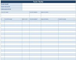 Team Roster Template Roster Template