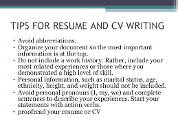 What Should Not Be Included In A Resume Seminar On Cv Preperation