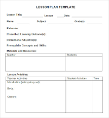 Daily Lesson Plan Template Word Document 9 Sample Weekly Lesson
