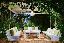 simple covered patio ideas. This Gorgeous, Serene Garden Patio Rests Beneath An Iron Structure. Simple  White Benches Are Simple Covered Ideas