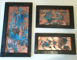 cool ideas copper wall art home decor blue patina splatter 3 piece set black zoom uk on set of 3 wall art australia with copper wall art turbid fo