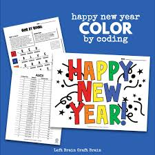 They include exercises on tracing and printing the words for each color, matching objects to their colors and organizing pictures by their color. Color By Coding Happy New Year Coloring Page Left Brain Craft Brain