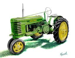 john deere tractor drawing. john deere tractor painting - by ferrel cordle drawing c