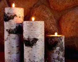Real Birch Log Candle Holder Set (3)