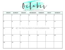 calendar october 2017 cute