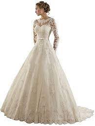 Maybe you would like to learn more about one of these? Cloverbridal Elegante Prinzessin Lange Armel Hochzeitskleid Brautkleid Amazon De Bekleidung