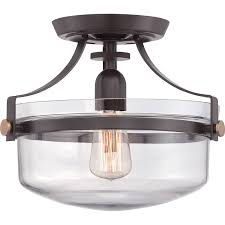 Quoizel Uptown Penn Station Western Bronze SemiFlushmount Semi - Semi flush kitchen lighting