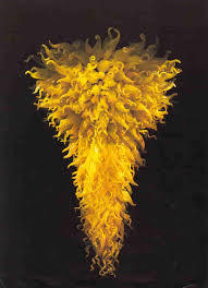 yellow neon chandelier by dale chihuly