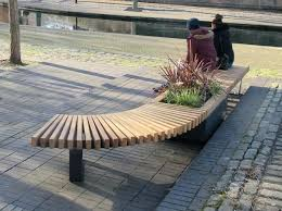 curved bench seating railroad planters with bench seating timber planters  throughout curved bench seating curved bench