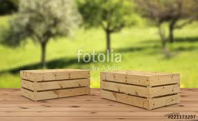 3d render of two wooden crates upside down for fruit or vegetable on wooden floor on orchard background