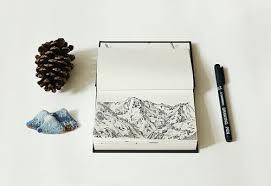 aesthetic grunge draw mountain book