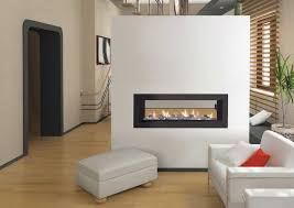 two sided modern minimalist gas fireplace with black frame