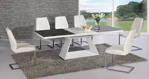 giatalia italia black and white extending dining table with 6 mariya white leather chairs me home furnishings