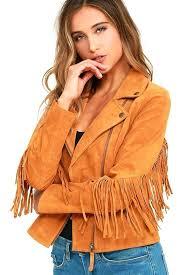 fringe suede jacket white crow westerner tan leather forever 21
