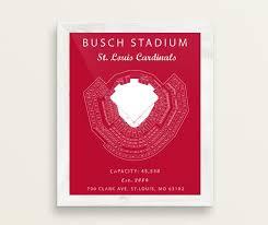 Busch Stadium Seating Chart St Louis Cardinals Busch Stadium Sign Busch Stadium Blueprint Busch Stadium Print Vintage Cardinals Decor