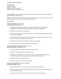 Warehouse Specialist Resume 1 Simple Warehouse Specialist