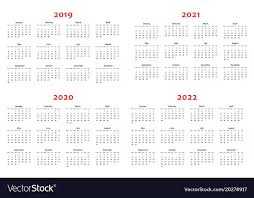 Calander Years Calendar For 2019 2022 Years