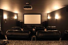Basement home theater with projector