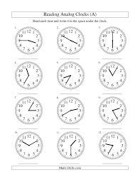 Measurement Worksheet -- Reading Time on an Analog Clock in 5 ...