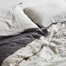 100 linen duvet cover in grey white stripe