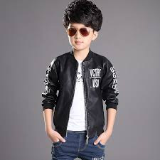 2016 high quality thin and thick boys girls pu leather jacket spring and autumn new children clothing kids warm coat outerwear myfashion