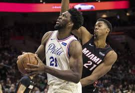 ers get in on philly s super bowl bash win over heat  philadelphia 76ers joel embiid left of drives to the basket as