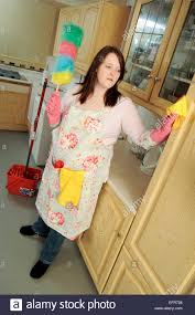 Mopping Kitchen Floor Young Woman House Wife Cleaning Her Kitchen Mopping The Floor