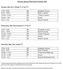 2nd Semester Spring Final Exam Schedule Gateway High School