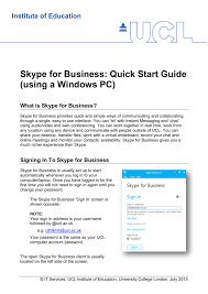 Skype For Business Quick Start Guide Using A Windows Pc