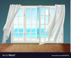 open window with curtains. Wonderful Curtains Open Window With Fluttering Curtains Vector Image For Window With Curtains I