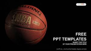 Basketball Powerpoint Template A Basketball With A Dark Background Powerpoint Templates