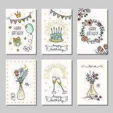 Set Of 6 Small Hand Drawn Birthday Cards Stock Vector