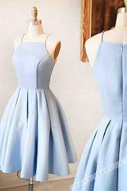 Short Formal Light Blue Dress Light Blue Satin Simple Short Dress Mini Dress For Teens