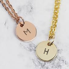 hand stamped 9ct gold initial disc charm necklace lisa angel
