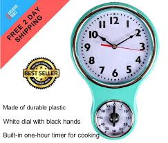 retro kitchen timer wall clock bell shaped vintage home decoration turquoise new
