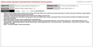 Diesel Mechanic Resume Resumes Templates