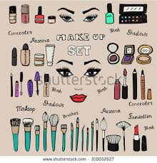 make up kit doodle makeup set collection of brushes nail polishes lipsticks