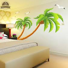 Wallpaper Design Home Decoration Green coconut tree gulls vinyl wall stickers home decor rooms living 85