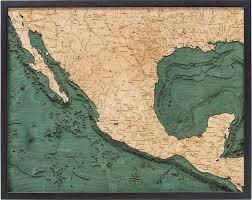 Mexico 3 D Nautical Wood Chart Art 24 5 X 31