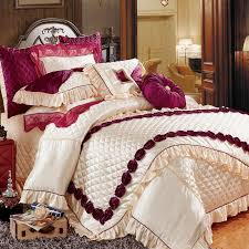 fashion purple embroidered silk flowers bedding bedspread linens silk cotton fabric king size duvet cover set bed flag cool duvet covers striped bedding