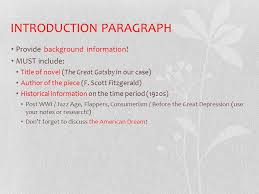 write vocab sentences using words unit bellwork  5 introduction paragraph provide background information must include title of novel the great gatsby