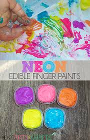 neon edible finger paint toddler activity iheartartsncrafts com