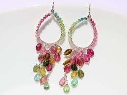 the arabella earrings watermelon tourmaline chandelier earrings in sterling silver