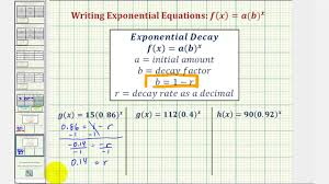 ex find the initial value and exponential growth or decay rate given an exponential function you