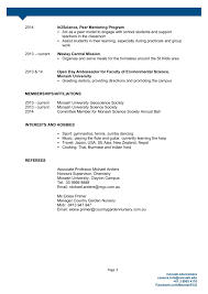 Resume Sample Environmental Sci Monash Pages 1 3 Text