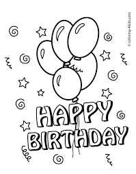 Free Printable Happy Birthday Coloring Pages With Balloons For Kids