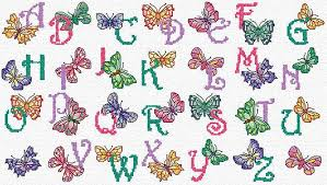 Butterfly Alphabet Chart Cross Stitch Patterns Free Printable Maria Diaz Designs